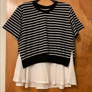 Two Layer Striped Chiffon Short Sleeve Top